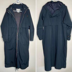 LL Bean Trench Coat Rain Jacket Long Wool Lining